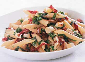 smoked mozzarella penne with wilted arugula radicchio and smoked ...